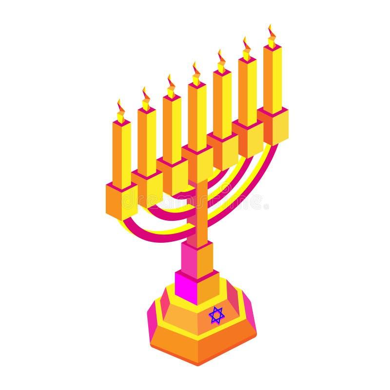 Goldenes isometry Chanukka mit Kerzen oder menorah Isometrische flache Illustration lizenzfreie abbildung