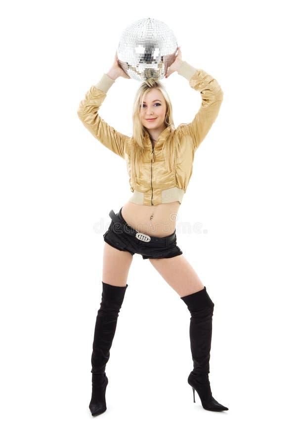 Goldenes Jackenmädchen mit Discokugel lizenzfreie stockfotografie