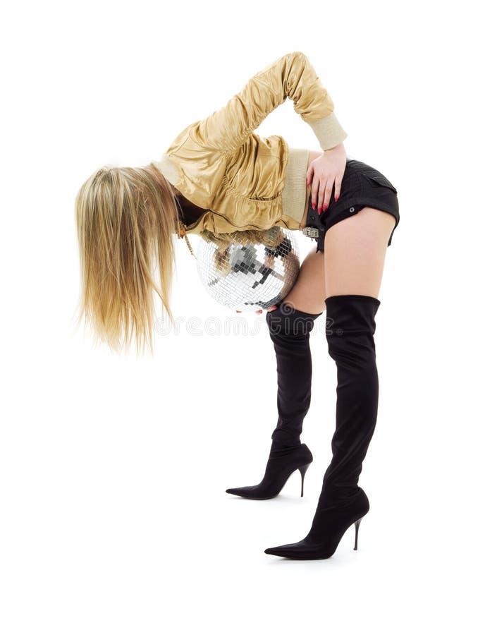 Goldenes Jackenmädchen mit Discokugel lizenzfreies stockbild