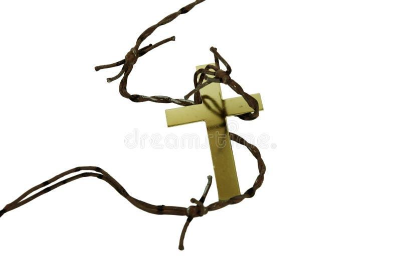Goldenes Kreuz und Dornen lizenzfreie stockbilder