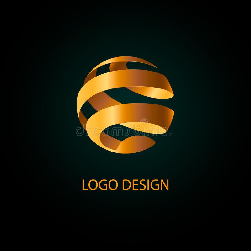 Goldenes Kugel Ball-Logo Weltlogo Bereichkugellogo lizenzfreie abbildung