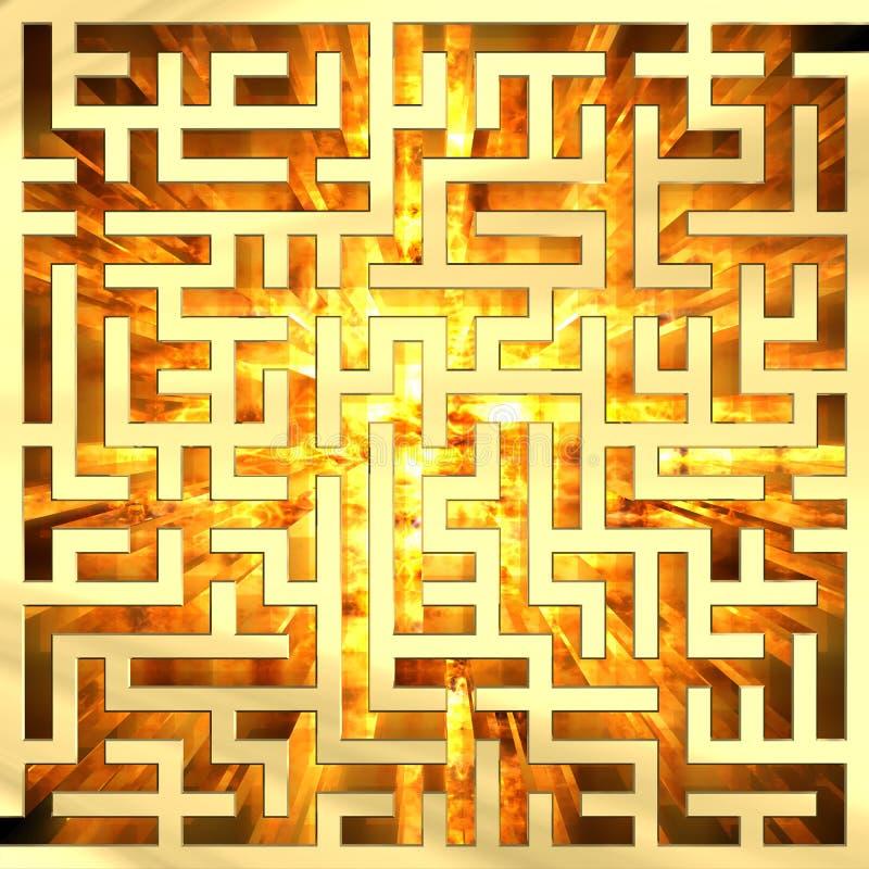 Goldenes Labyrinth mit Flamme vektor abbildung