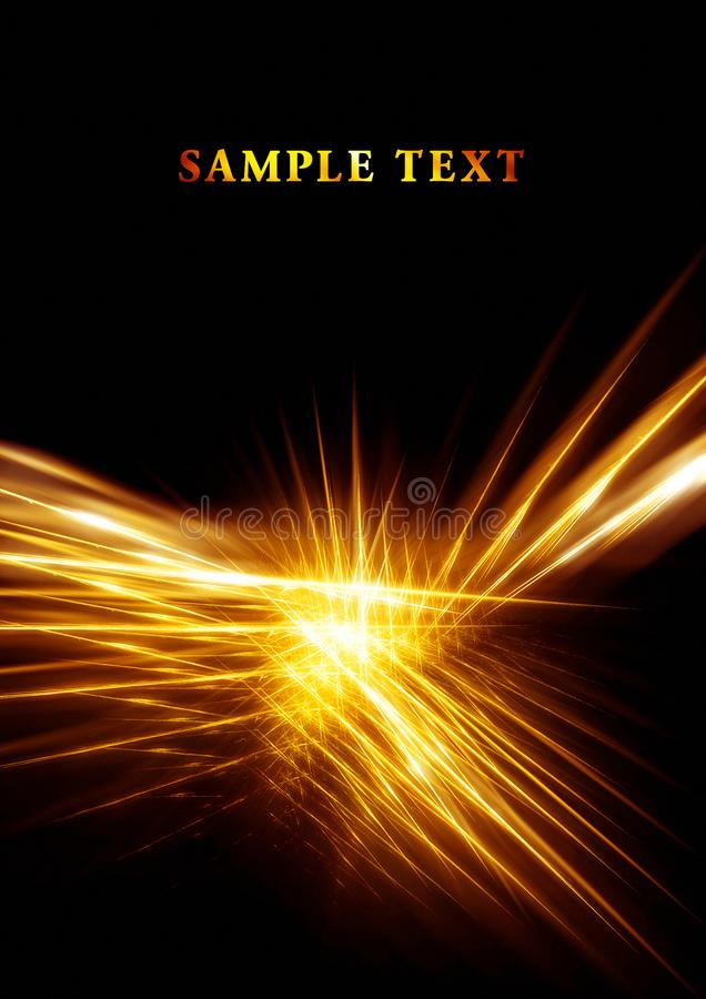 Goldenes Licht auf schwarzem Hintergrund stock abbildung