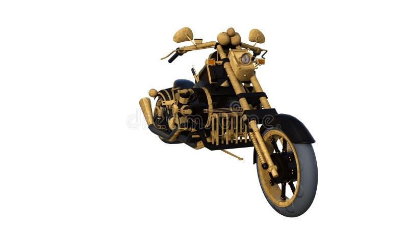 Goldenes Licht des ungewöhnlichen Motorrades geschaffen von den nichtstandardisierten Materialien Front View stock abbildung