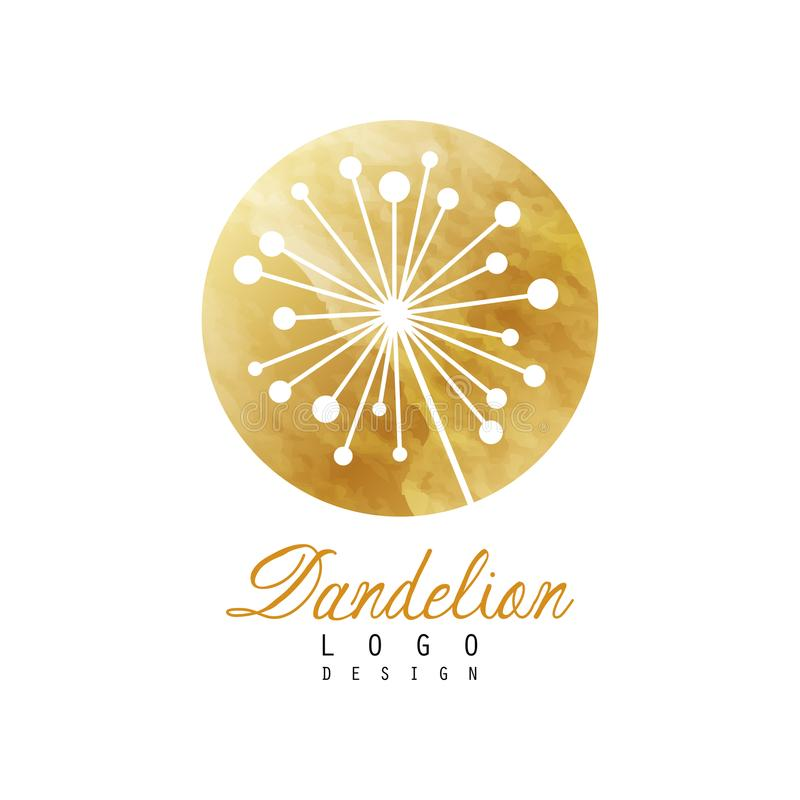 Goldenes Logo mit abstrakter Löwenzahnanlage Medizinisches Kraut Botanischer Aufkleber Ursprüngliches Vektordesign für Visitenkar lizenzfreie abbildung