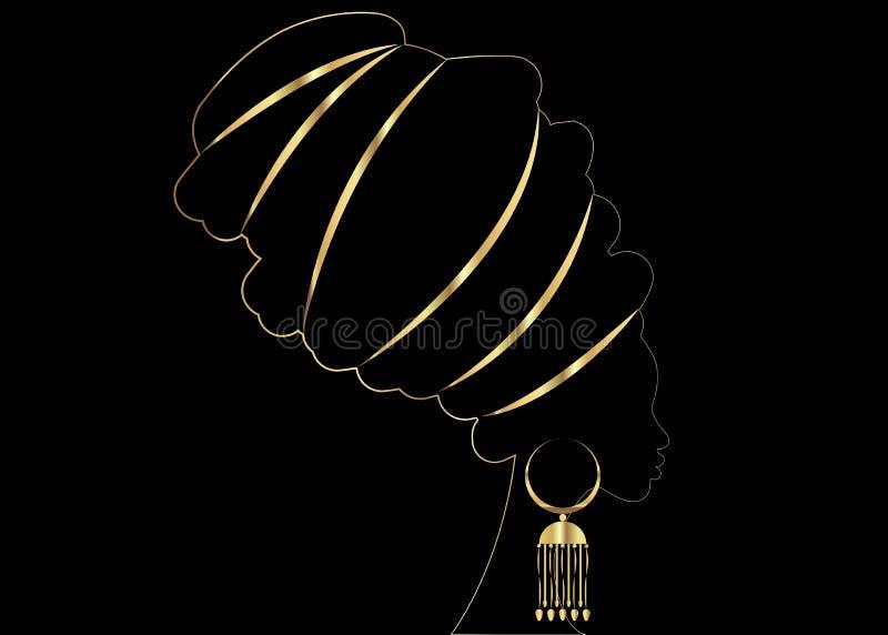 Goldenes Luxusporträt schöne Afrikanerin im traditionellen Turban, Kente-Kopfverpackung afrikanisch, traditionelles dashiki lizenzfreie abbildung