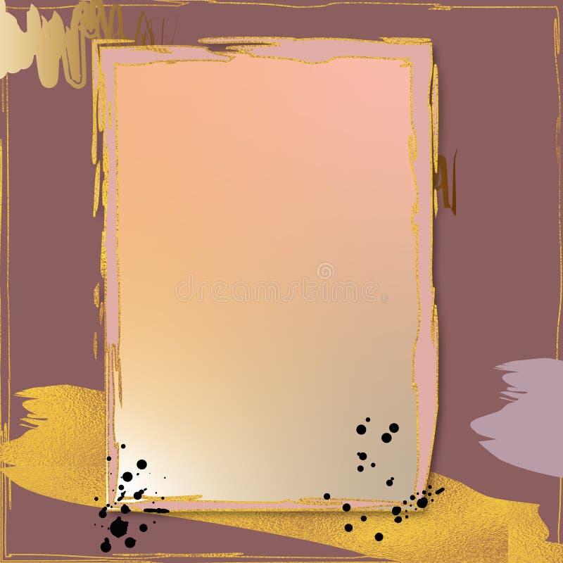 Goldenes Luxuxfeld Hochzeitsverzierungsthema Heiratseinladungsentwurfshintergrund Abstrakte Artweinlesekarte lizenzfreie abbildung