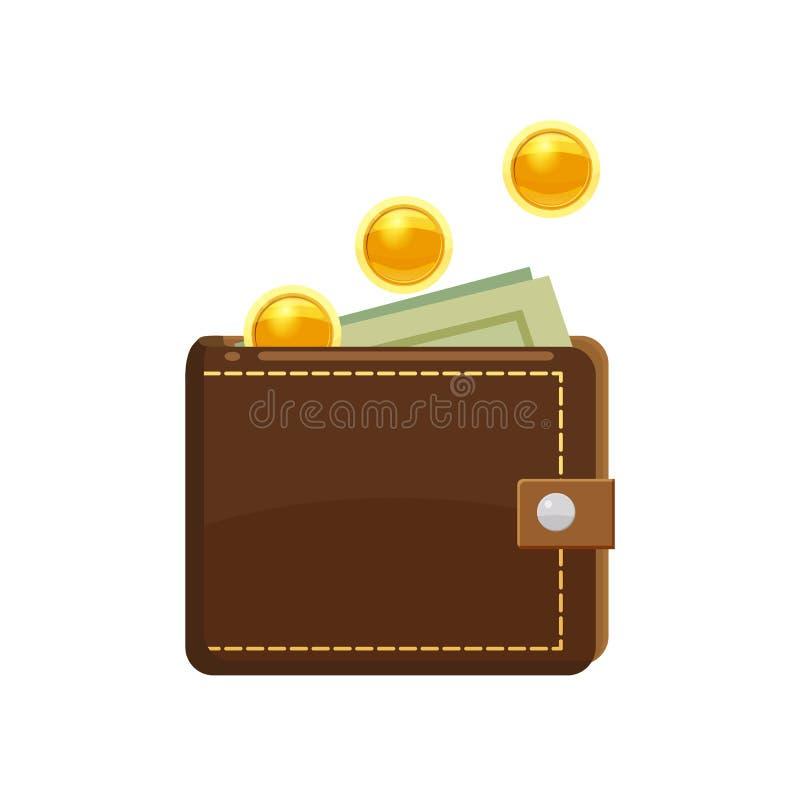 Goldenes Münzenfallen und -geldbörse mit Dollarbanknoten im Geldbeutel Hände, die Stapel der Münzen schützen Vektorillustration,  stock abbildung