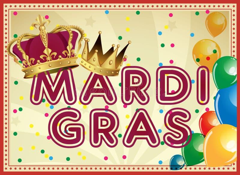 Goldenes Mardi Gras-Gestaltungselement Karnevals-Hintergrund Zwei Karnevalskronen lizenzfreie abbildung
