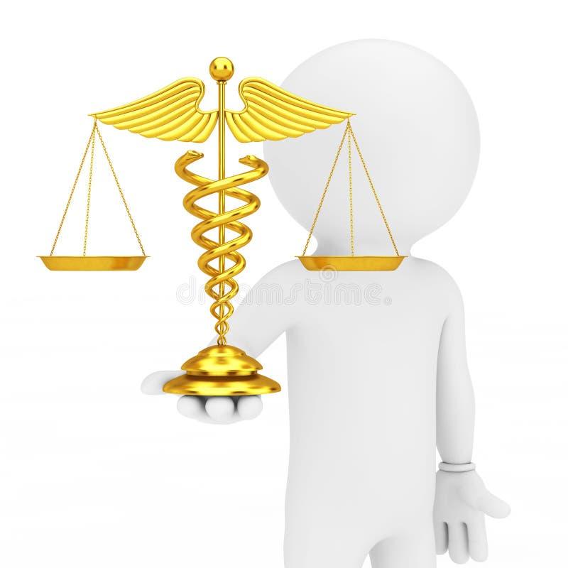 goldenes medizinisches Caduceus-Symbol 3d Person Hold in der Hand als Skalen lizenzfreie abbildung