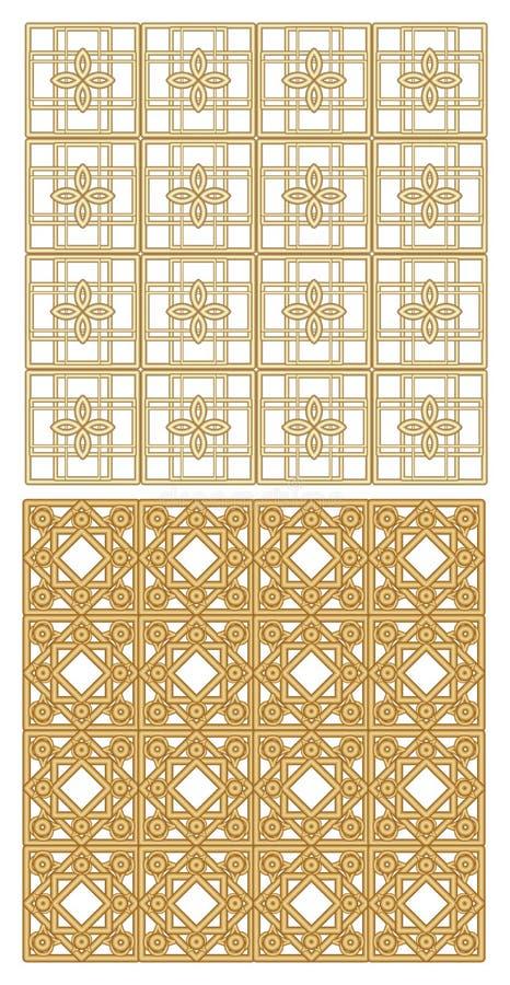 Goldenes metallisches Gitter mit Art- DecoMustern Zwei Modelle, wiederholbar, nahtlos mit Effekt 3D vektor abbildung