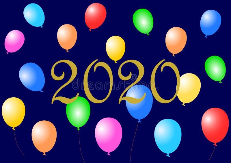 Goldenes 2020 mit bunten Ballonen lizenzfreie stockfotografie