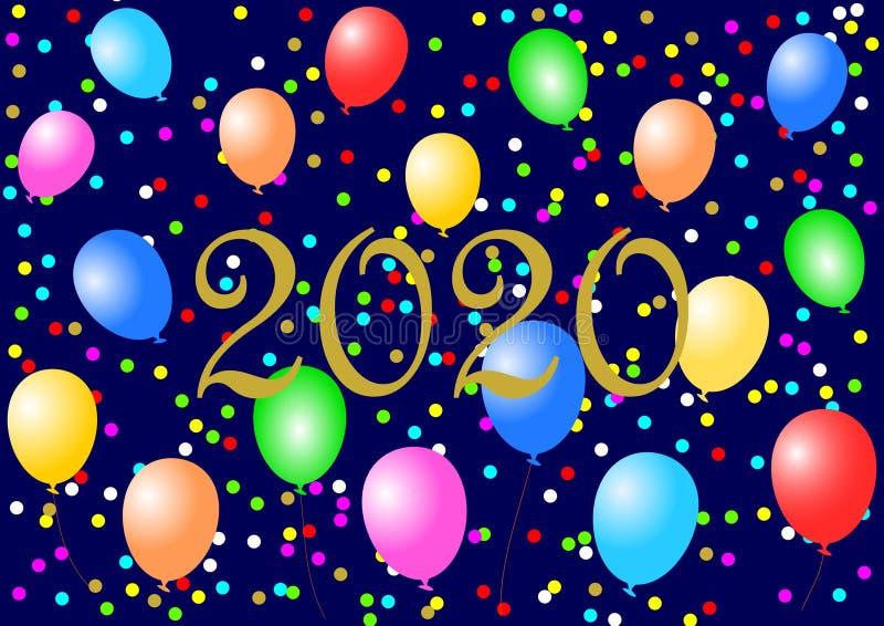 Goldenes 2020 mit bunten Ballonen und Konfettis lizenzfreie stockbilder