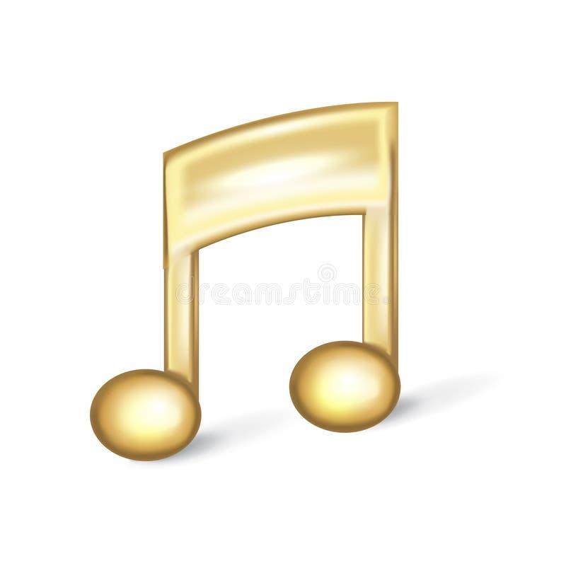 Goldenes Musikzeichen lokalisiert auf Weiß stock abbildung