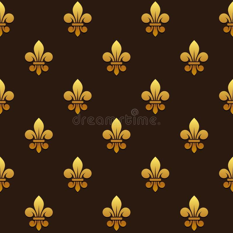 Goldenes Muster Fleur de Lis Seamless Vektor stock abbildung