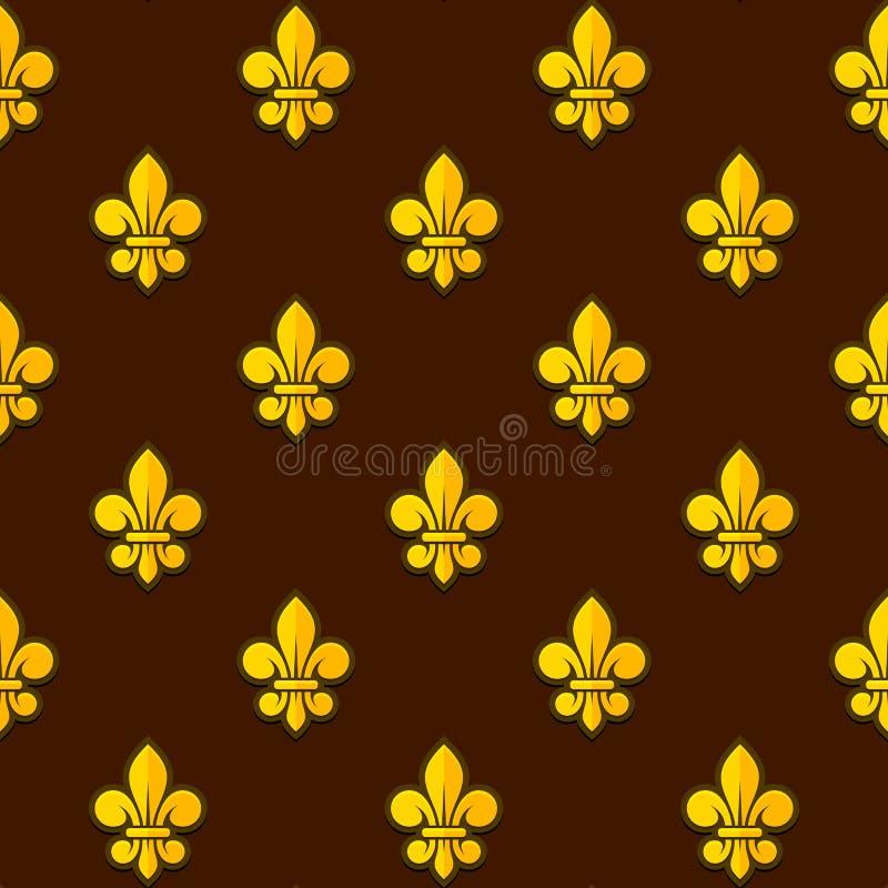 Goldenes Muster Fleur de Lis Seamless Vektor lizenzfreie abbildung