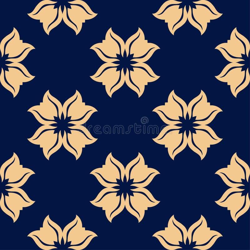 Goldenes nahtloses mit Blumenmuster auf blauem Hintergrund stock abbildung