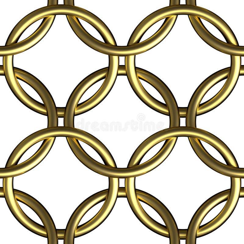 Goldenes nahtloses Muster der Kettenhemdringmasche stock abbildung