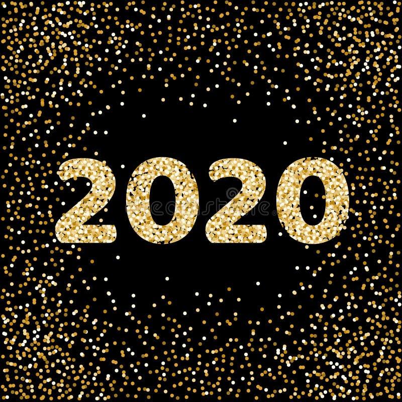 2020 goldenes neues Jahr Datei enth?lt Transparenz, Steigungen Goldgl?nzende Funkelnkonfettis Vektorillustration lokalisiert auf  lizenzfreie abbildung