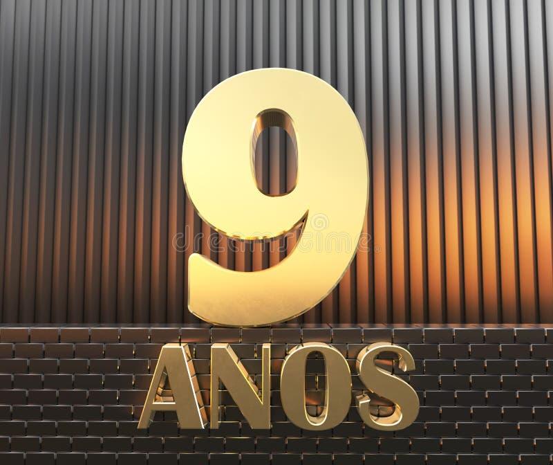 Goldenes Nummer Eins Nr. neun und das Wort vektor abbildung
