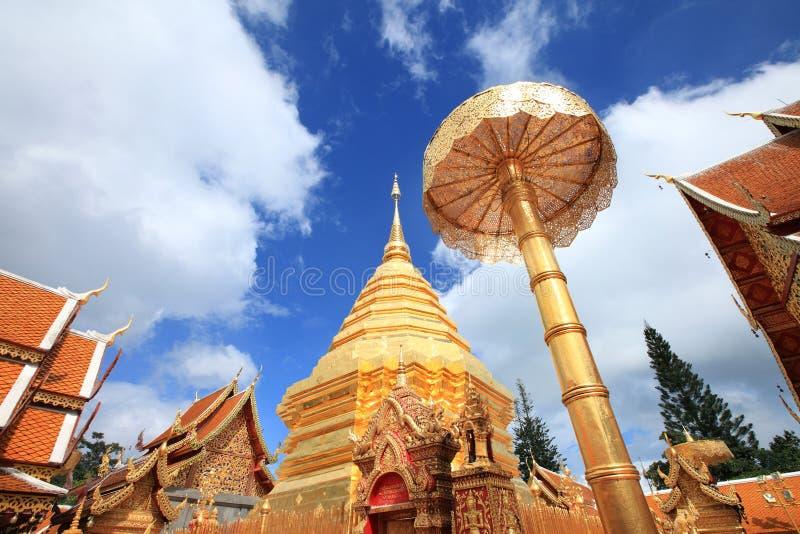 Goldenes Pagode wat Phra dieses chiangmai Thailand Doi Suthep stockfotografie