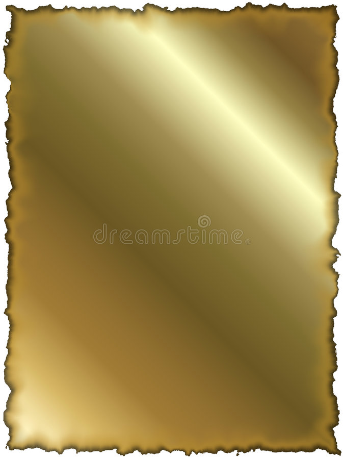 Goldenes Papier mit gebrannten Rändern lizenzfreie abbildung