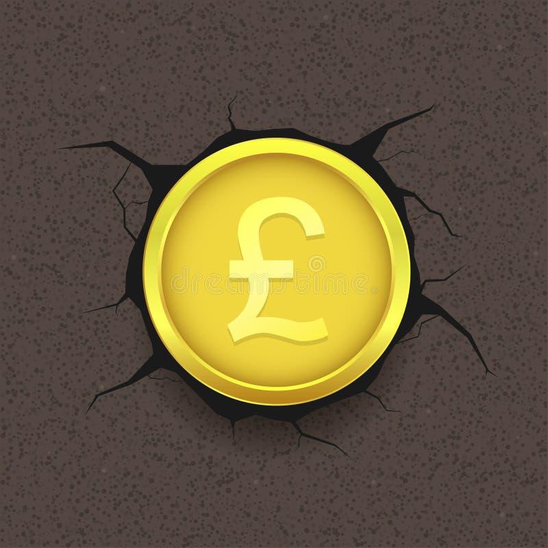 Goldenes Pfund auf gebrochenem Hintergrund lizenzfreie abbildung