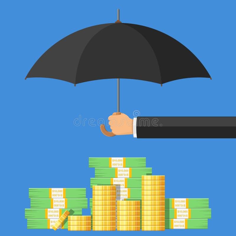 Goldenes Pfund Sterling Sign unter Regenschirm auf einem weißen Hintergrund vektor abbildung