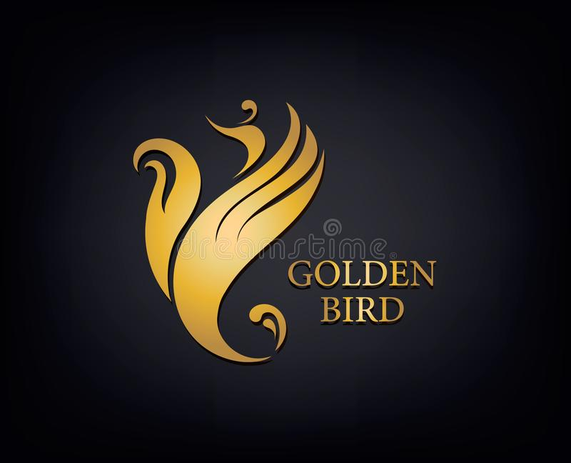 Goldenes Phoenix, Vogelmarke, Tierlogo, Luxusmarkenidentität für Hotelmode und Sport brennt Konzept ein ENV 10 lizenzfreie abbildung