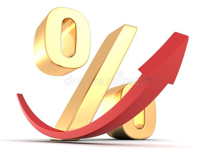 Goldenes Prozentsatzsymbol mit rotem Pfeil oben lizenzfreie abbildung