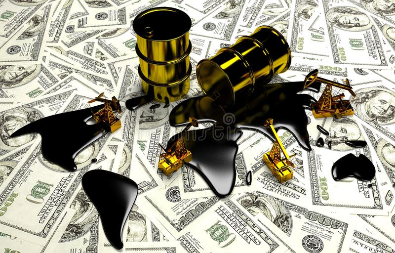 Goldenes Pumpjack und verschüttetes Öl auf dem Geld lizenzfreie abbildung