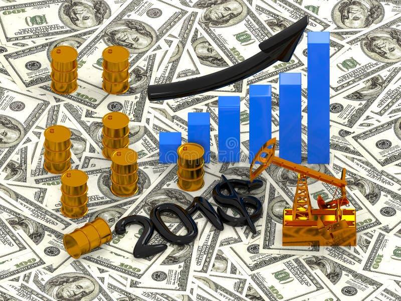 Goldenes Pumpjack und verschüttetes Öl auf dem Geld 3d übertragen stockfoto