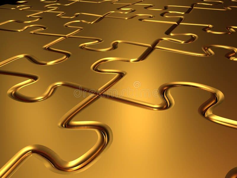 Goldenes Puzzle lizenzfreie abbildung