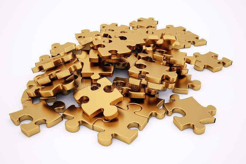 Goldenes Puzzlespiel stock abbildung