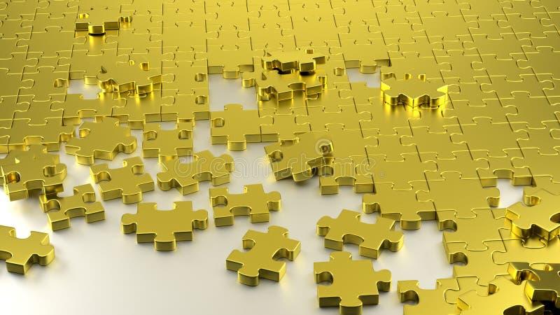 Goldenes Puzzlespiellabyrinth zusammen lizenzfreie stockbilder