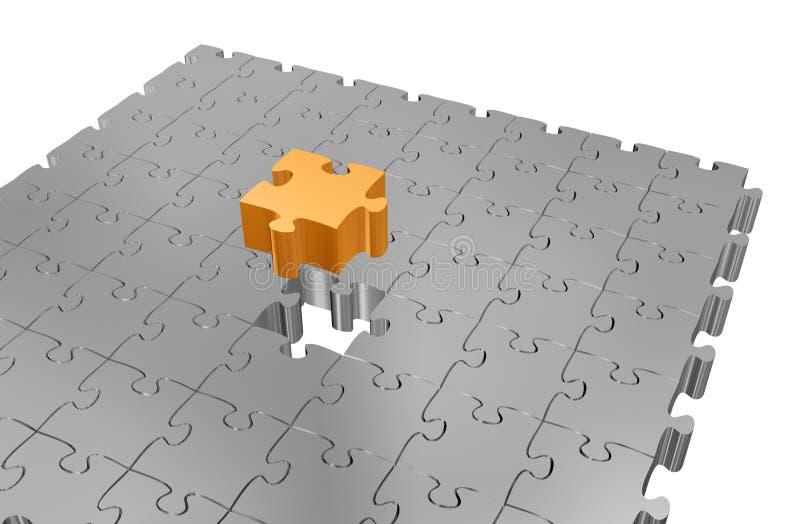 Goldenes Puzzlespielstück stock abbildung