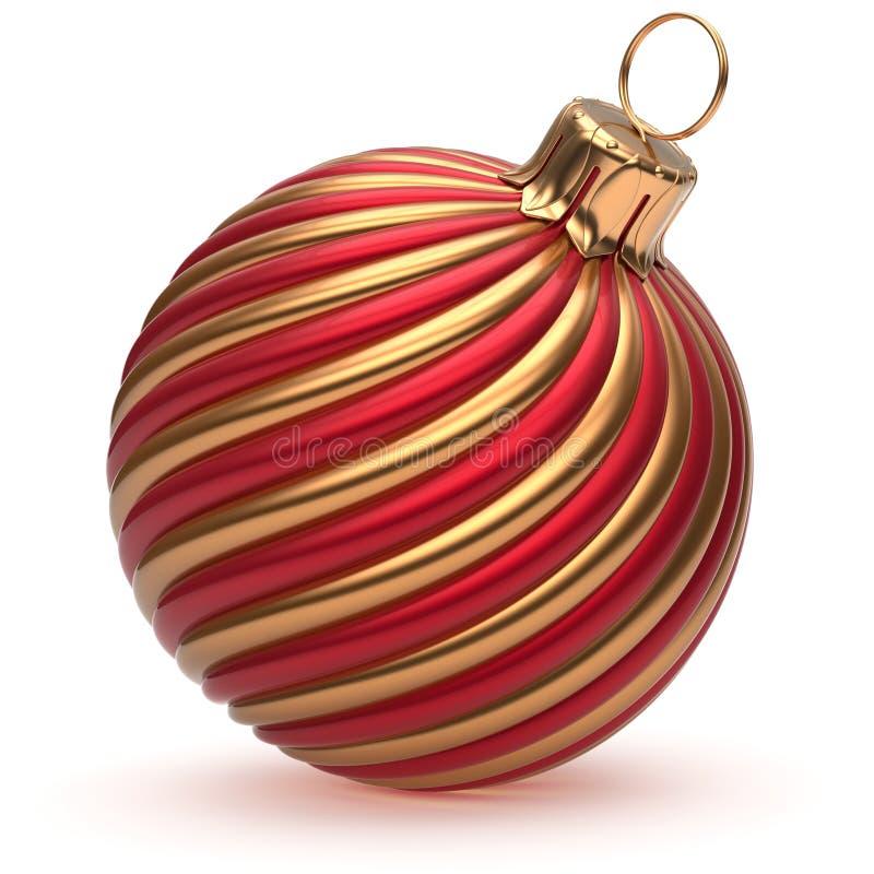 Goldenes rotes glänzendes der Weihnachtsball Silvesterabend-Dekoration lizenzfreie abbildung