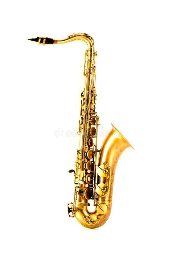 Goldenes Saxophon des Tenorsaxofons lokalisiert auf Weiß lizenzfreie stockbilder