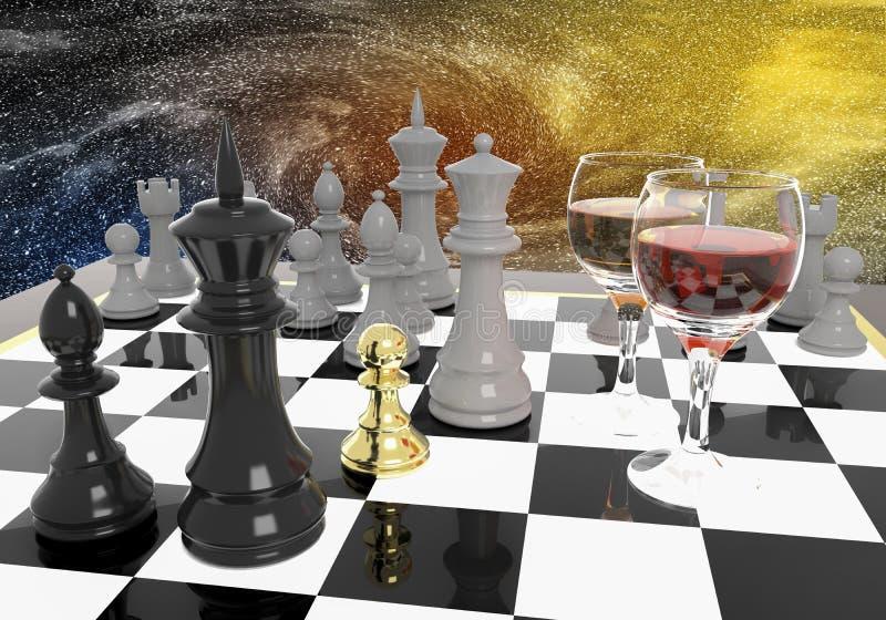 Goldenes Schachpfand stock abbildung