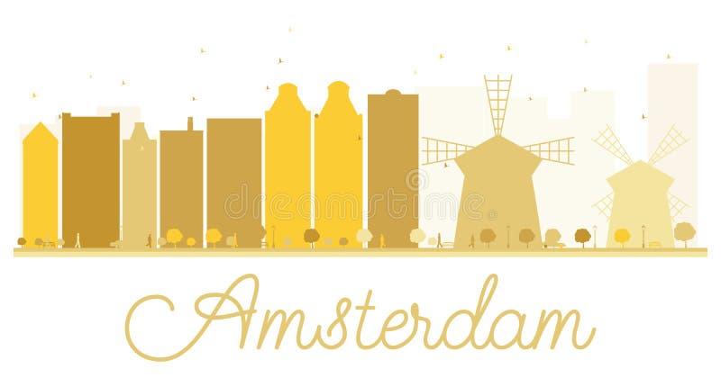 Goldenes Schattenbild der Amsterdam-Stadtskyline stock abbildung