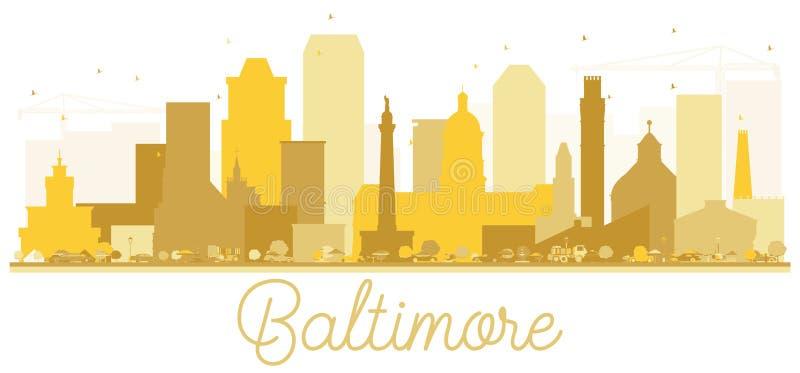 Goldenes Schattenbild der Baltimore-Stadtskyline vektor abbildung