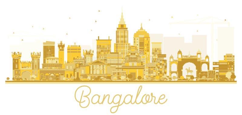 Goldenes Schattenbild der Bangalore-Stadtskyline stock abbildung