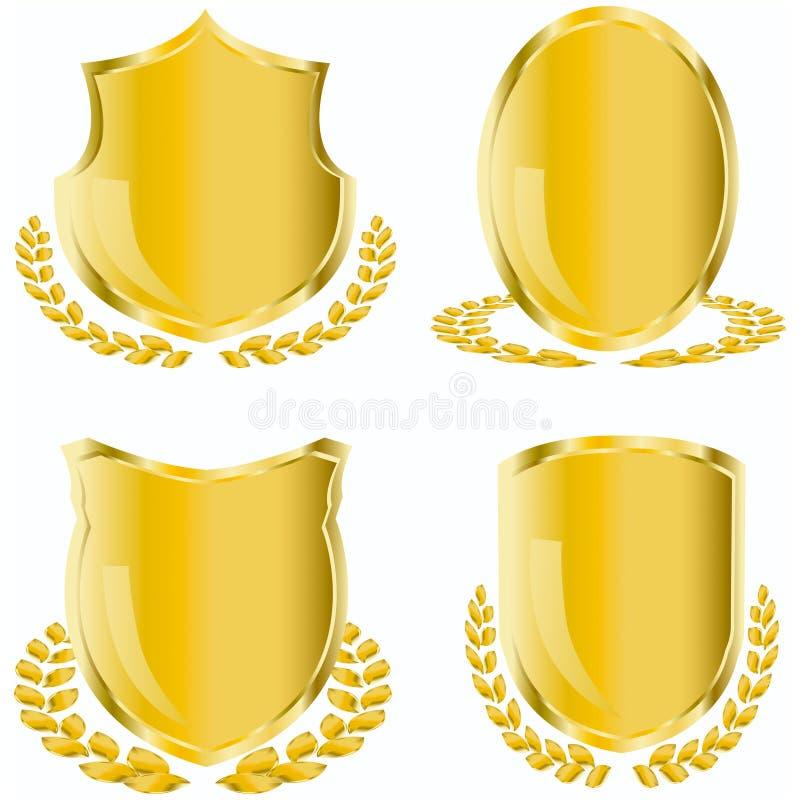 Goldenes Schild lizenzfreie abbildung