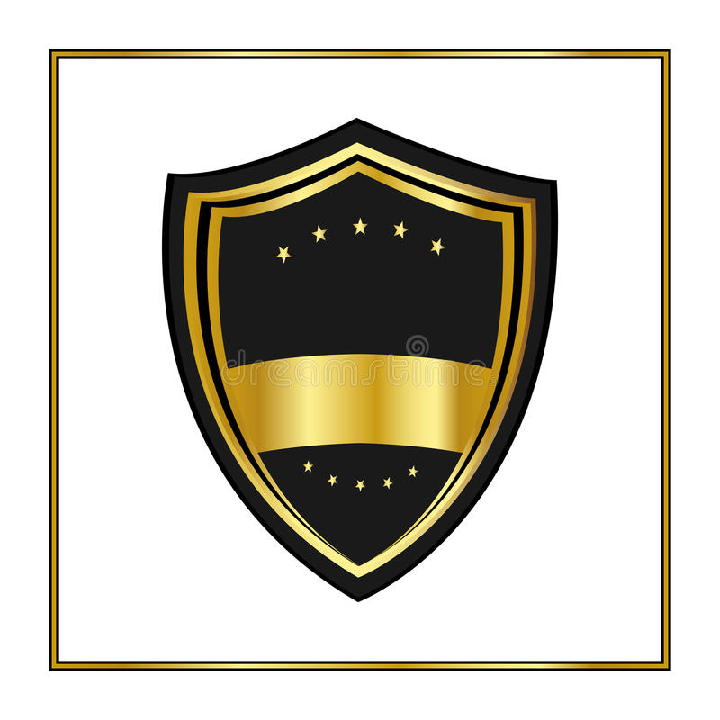 Goldenes Schild mit den Sternen in der modischen flachen Art lokalisiert auf weißem Hintergrund Kündigen Sie Logo und mittelalter vektor abbildung