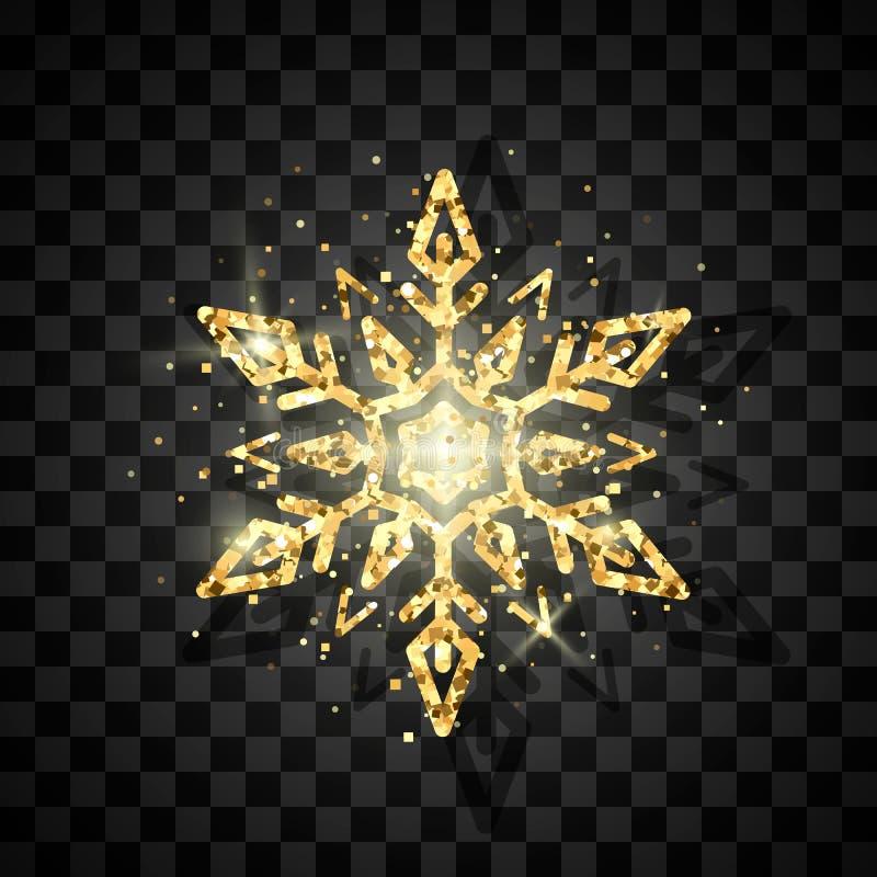 Goldenes Schneeflockenluxussymbol des neuen Jahres und des Weihnachten E Vektor stock abbildung