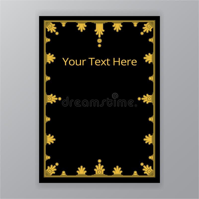 Goldenes schwarzes vereinfacht, Klassiker aufwändig in der arabischen Artschablone Im Format der Seite A4 Art Deco und Jugendstil lizenzfreie abbildung