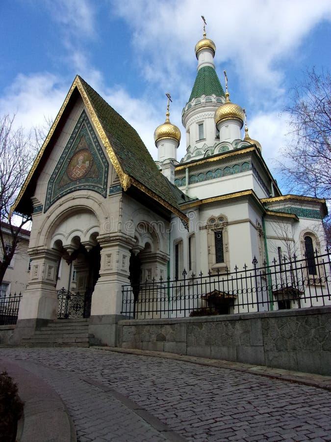 Goldenes Sofia: Russische Kirche stockbild