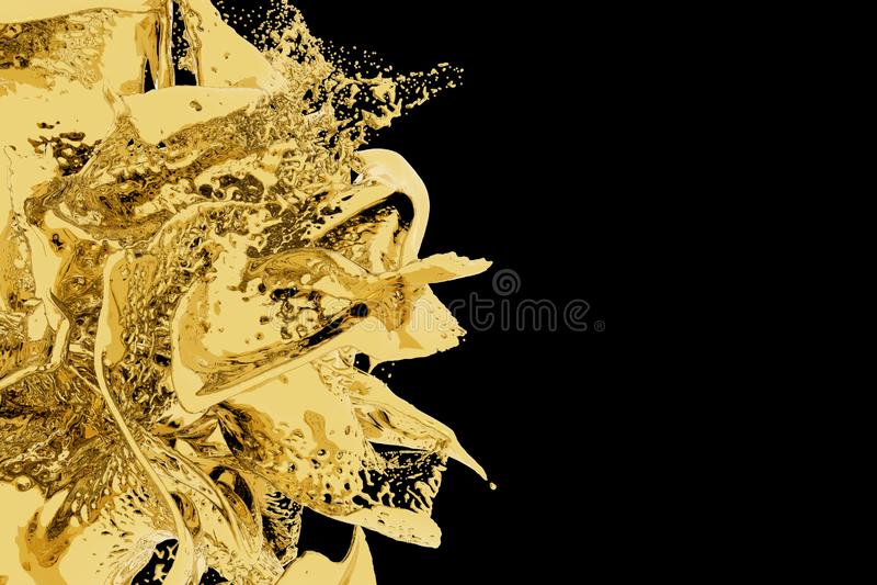 Goldenes Spritzen auf schwarzem Hintergrund E r Kopieren Sie Platz lizenzfreie abbildung
