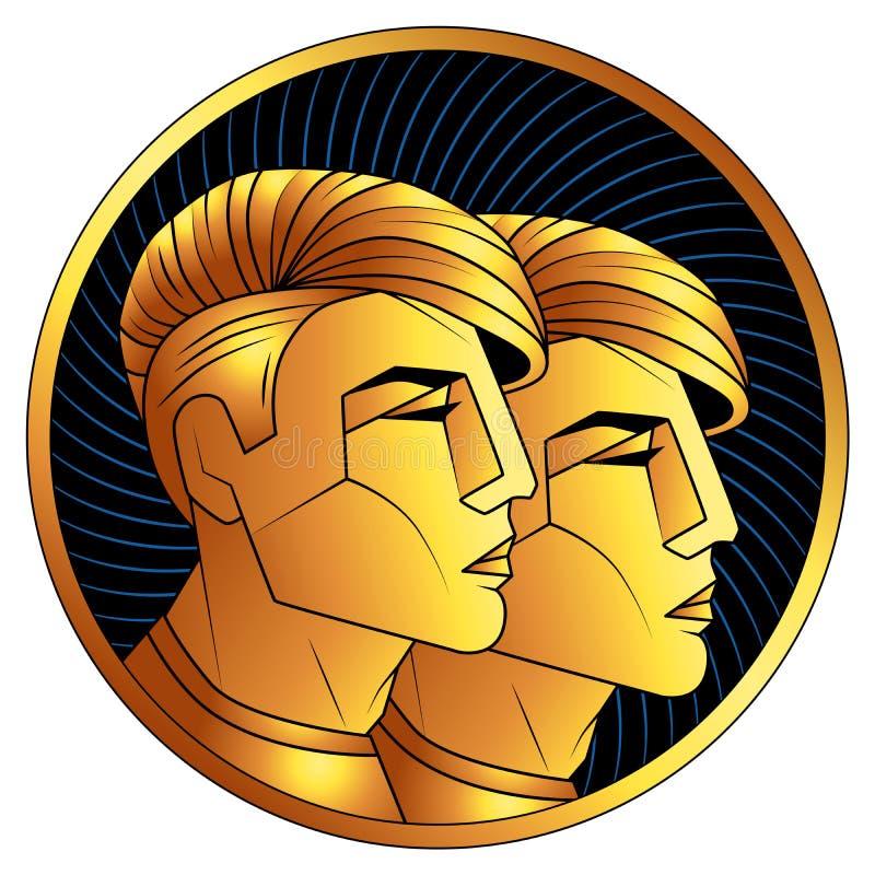 Goldenes Sternzeichen der Zwillinge, Vektorhoroskopsymbol lizenzfreie stockfotografie