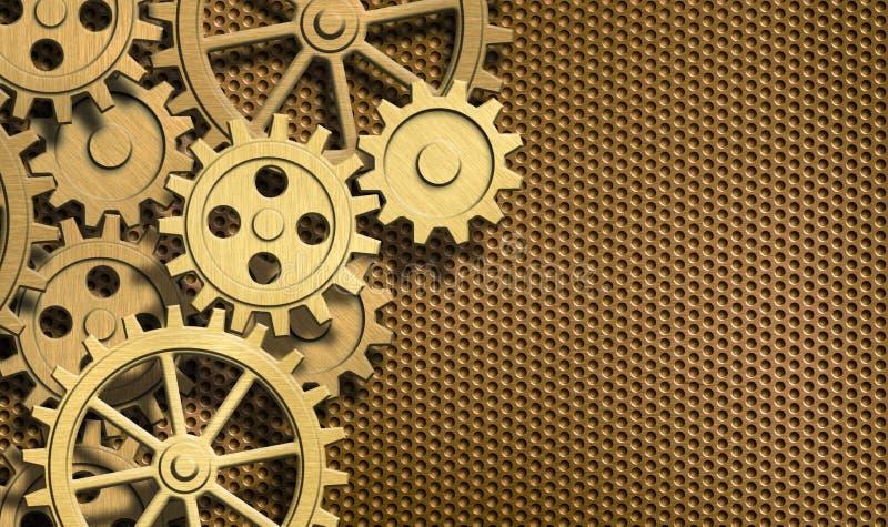 Goldenes Uhrwerk übersetzt Metallhintergrund lizenzfreie abbildung